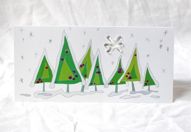 handrawn sketch of molten wonky snowy forast scene gift card with glass star on