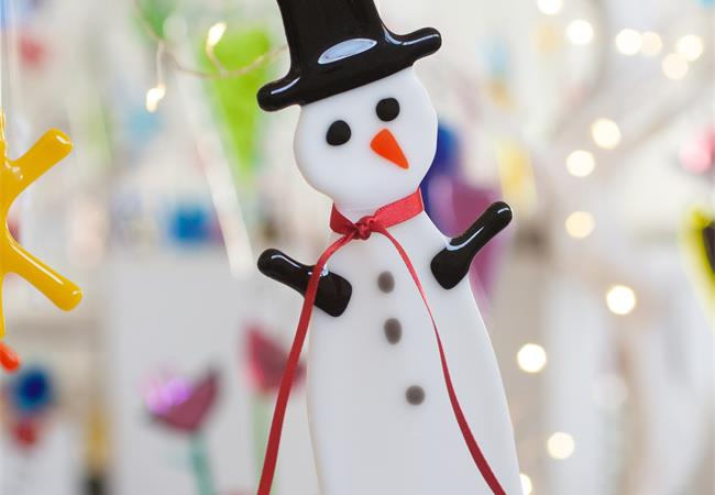 fused glass snowman hanging Christmas decorations