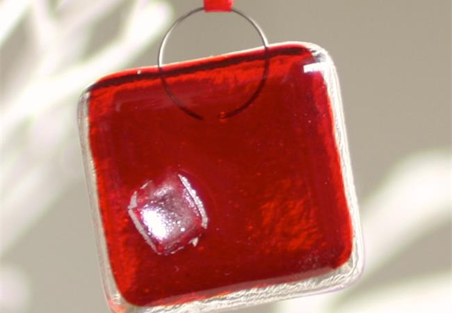 red fused glass nugget