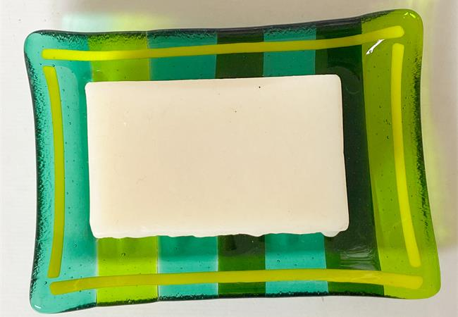 green fused glass soap dish