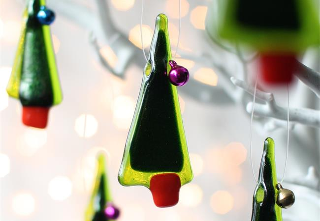 set of 5 Tiny tree fused glass decoration made by molten wonky