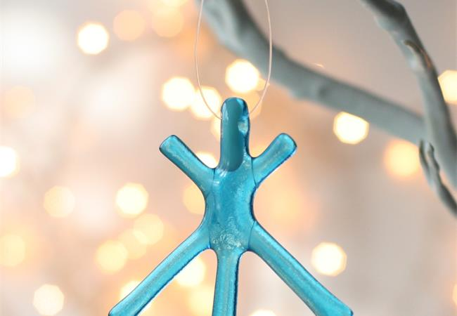 Turquoise Transparent fused glass star hanging decoration made by molten wonky