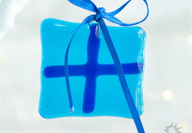 turquoise fused glass present
