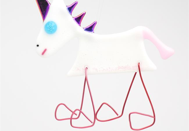 Bright white glass unicorn decoration with dichroic glass mane and horn