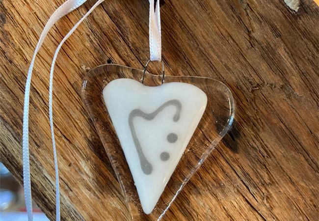 white fused glass love heart