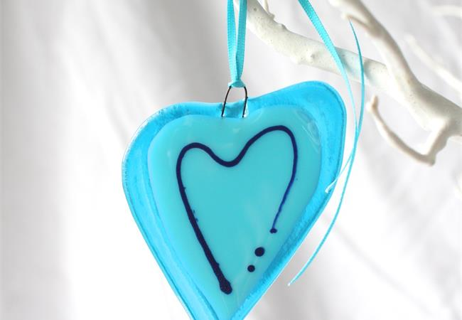 blue with a line fused glass love heart hanging decoration made by molten wonky