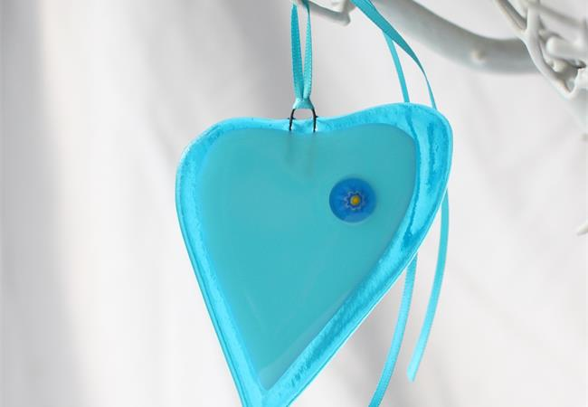 blue with milleflori fused glass love heart hanging decoration made by molten wonky