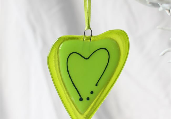 green with a line fused glass love heart hanging decoration made by molten wonky