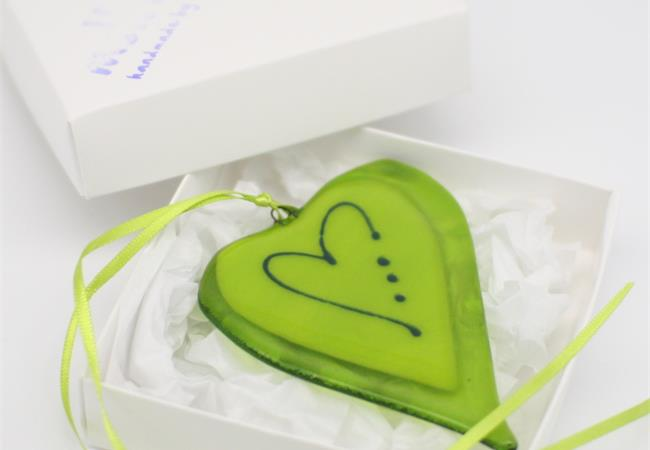 lime green fused glass love heart decoration handmade by molten wonky