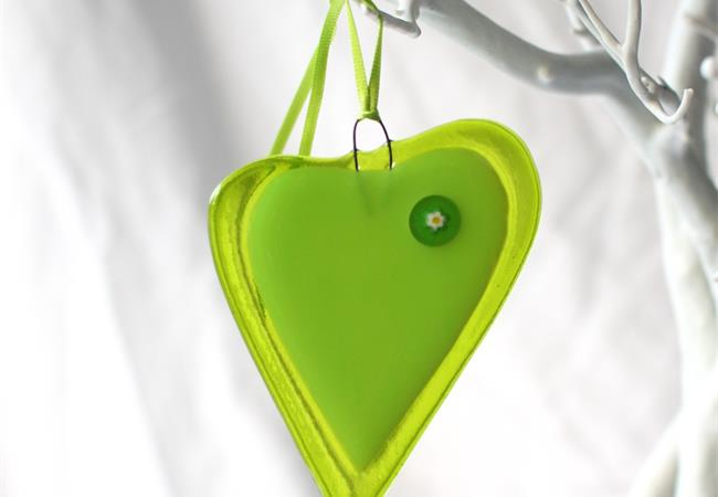 green with milleflori fused glass love heart hanging decoration made by molten wonky