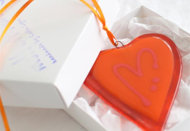 orange  fused glass love heart decoration handmade by molten wonky