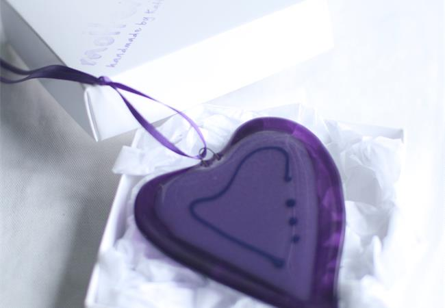 purple fused glass wonky love heart