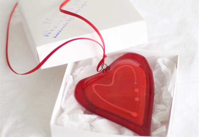 red with a line fused glass love heart hanging decoration made by molten wonky