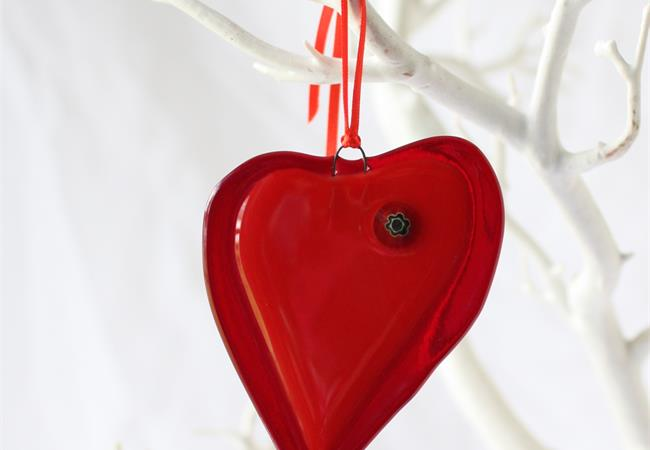 red with milleflori fused glass love heart hanging decoration made by molten wonky