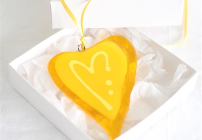 yellow fused glass love heart decoration handmade by molten wonky