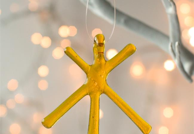 Yellow Transparent fused glass star hanging decoration made by molten wonky