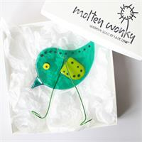 fused glass emerald bird chick decoration
