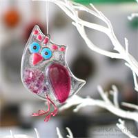 pink fused glass owl