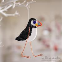 fused glass puffin decoration