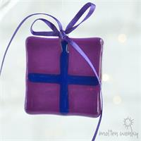 purple fused glass gift decoration