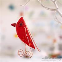 Red Lala Bird hanging fused glass decoration handmade by Katie Lynn