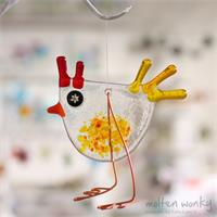 Fused glass Rooster hanging decoration