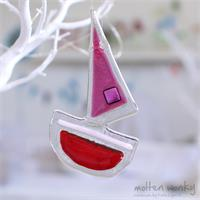 fused glass sail boat