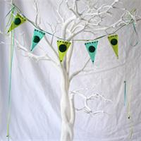 shimer dot green coloured fused glass bunting made by molten wonky