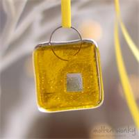Square handmade fused glass nugget decoration