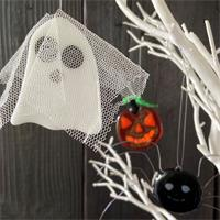 ghost spider and pumpkin glass ornaments